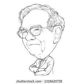 February 21, 2019 Caricature of Warren Edward Buffett, Warren Buffett, Investor , Businessman Millionaire Portrait Drawing Illustration.