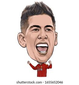 February 23, 2020 Caricature of Roberto Firmino Barbosa de Oliveira, Roberto Firmino an professional footballer.