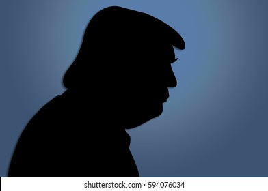 February 28, 2017: An illustration of a portrait of  Donald Trump, the 45th President of USA