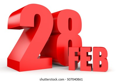 February 28. Text on white background. 3d illustration.