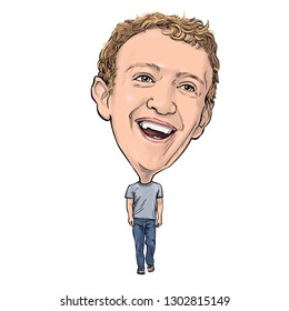 February 3, 2019 Caricature of Mark Elliot Zuckerberg Facebook Portrait Drawing Illustration.