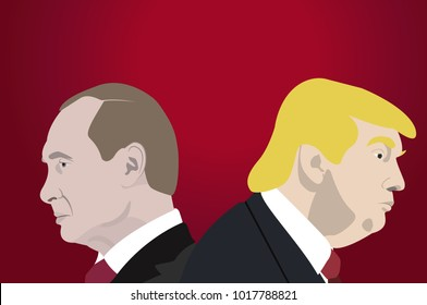 February 5, 2018: An illustration of a portraits of Donald Trump, President of USA and  Vladimir Putin, the President of Russia