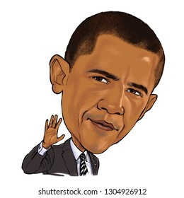 February 5, 2019 Caricature of Former President of The United States Barack Obama, Barack Hussein Obama II an Portrait Drawing Illustration.