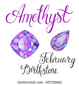 February birthstone Amethyst isolated on white background. Close up illustration of gems drawn by hand with colored pencils. Realistic faceted stones.