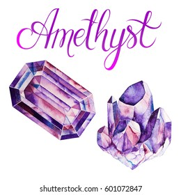 February birthstone Amethyst isolated on white background. Watercolor illustration of violet gem and crystal drawn by hand. Realistic purple faceted stones with lettering.