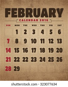 February calendar 2016 with old paper texture, vintage background