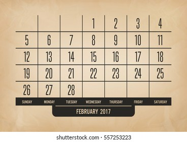 february calendar 2017 with old brown paper texture