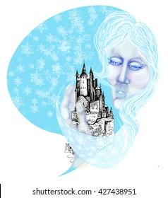 February mixed media winter illustration