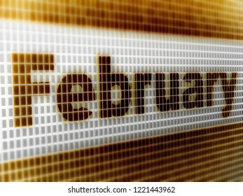 """""""February"""" in the screen. 3D Illustration."""