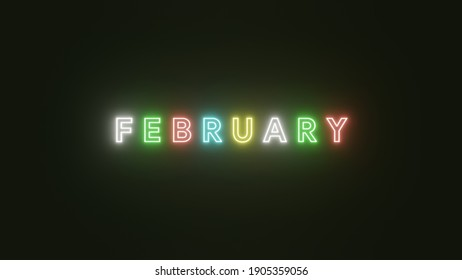 February text neon light colorful on black background . 3d illustration rendering . Neon symbol for February .