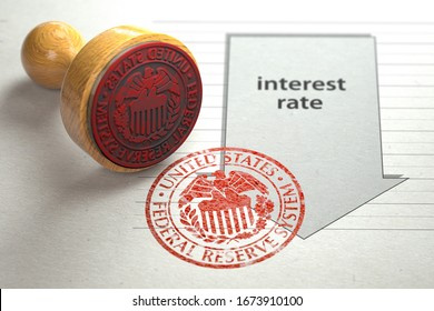 Federal funds rate decrease. Arrow with cut of federal fund rate and stamp of federal reserve FRS symbol. 3d illustration