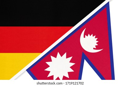 Federal Republic of Germany vs Nepal, symbol of two national flags from textile. Relationship, partnership and championship between European and Asian countries.