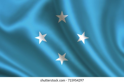 """Federated States of Micronesia flag. A series of """"Flags of the world.""""  ( The country - Federated States of Micronesia flag )"""