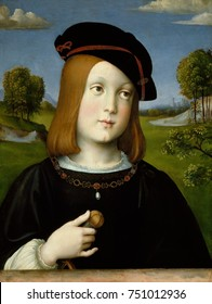 FEDERIGO GONZAGA, by Francesco Francia, 1510, Italian Renaissance painting, tempera on wood. The great Renaissance collector Isabella dEste, Marquess of Mantua, commissioned this portrait of her son