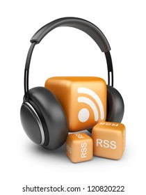 Feed of rss audio news.  Podcast concept. 3D icon isolated