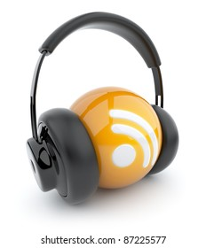 Feed or Rss icon 3D. Blog. Sphere witch audio headphones. Isolated on white