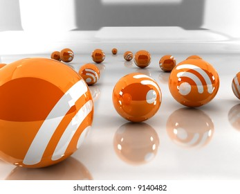 Feed or Rss icon, used in  internet transmition and  association with open web syndication formats such as RSS and Atom. 3D with reflect.