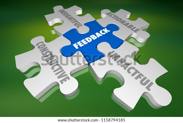 Feedback Constructive Insightful Actionable Puzzle 3d Illustration