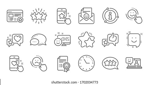 Feedback line icons. User Opinion, Customer service and Star Rating. Customer satisfaction linear icon set. Quality line set.