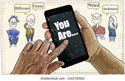 The Feeling of Cyberbullying in Classic Old Drawing Style with Characters who can Picture Adults and Children