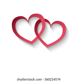 Feelings 2 red hearts on a white background, raster