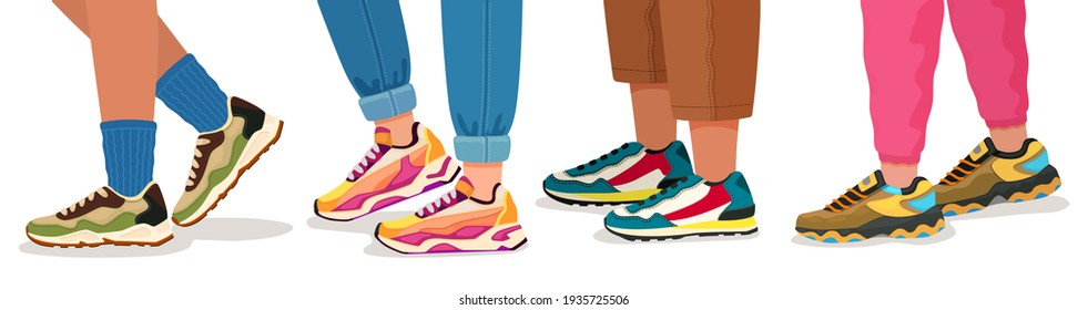 Feet in sneakers. Female and male walking legs in sport shoes with socks, pants and jeans. Trendy fashion fitness footwear  concept