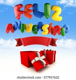 Feliz Aniversario Portuguese Happy Birthday - Font Ballon