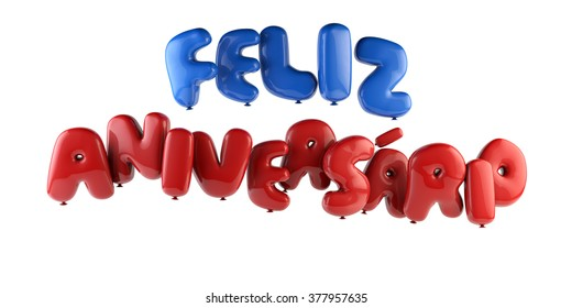 Feliz Aniversario Portuguese Happy Birthday - Font Ballon path save