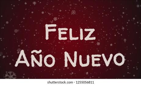 Feliz Ano Nuevo - Happy New Year in spanish language, greeting card, falling snow, red background
