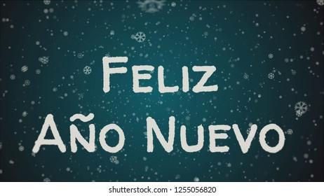 Feliz Ano Nuevo - Happy New Year in spanish language, greeting card, falling snow, blue background