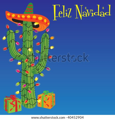 cactus wrapped with christmas lights and sombrero