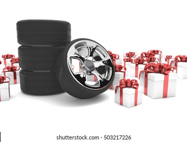 Felly with tires and gifts on the white.