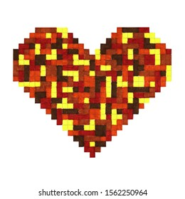 felt-tip pen illustration - multicolored pixel heart