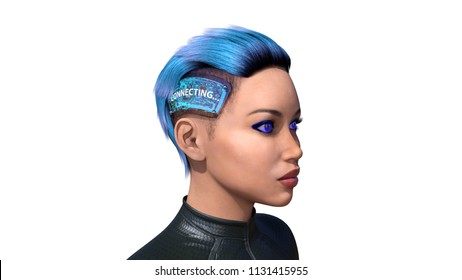Female android with technology implants, biomechanical woman connecting to internet, artificial intelligence, 3D rendering