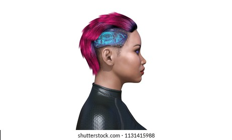 Female android with technology parts, biomechanical woman with head implants, artificial intelligence, 3D rendering