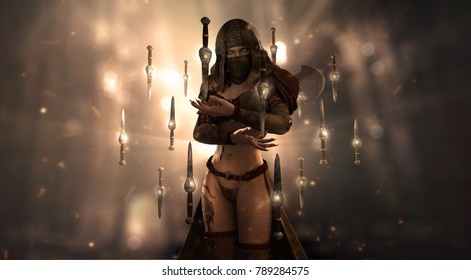 female assassin character surrounded by floating knives 3d render