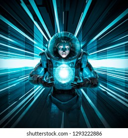 Female astronaut delivering the orb / 3D illustration of science fiction scene with astronaut in space suit in neon lit corridor with glowing alien quantum energy ball