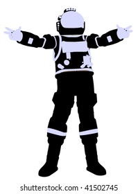 A female astronaut silhouette illustration on a white background