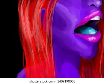 female with back background, bright colors, blacklight theme.