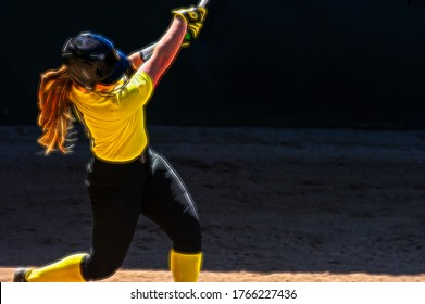 A Female Baseball Player is Swinging for the Fences