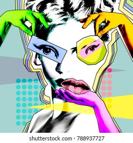 Female beauty and plastic surgery. Retro poster in the style of pop art.