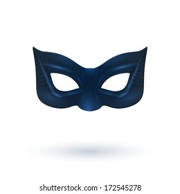 Female Black Leather Mask with Shadow for Superhero - Isolated on White