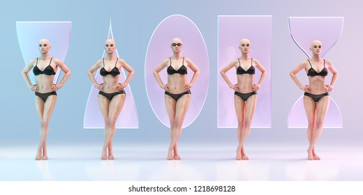 Female body shapes types - triangle pear, apple, round, rectangle, hourglass. Five women standing in underwear on studio background. Clipping path included. 3D illustration