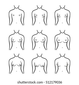 Female Breast Set. Different Types, Size and Form. illustration