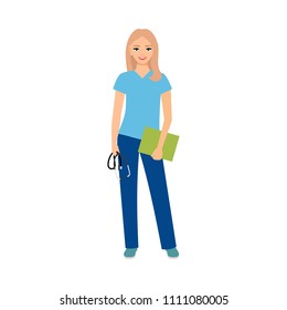 Female character of logopedist isolated illustration on white background