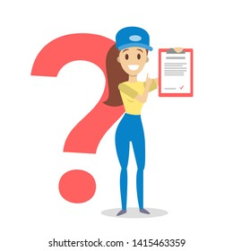 Female courier in uniform holding box and clipboard. Woman standing with a question mark behind. Worker in delivery industry. Flat  illustration