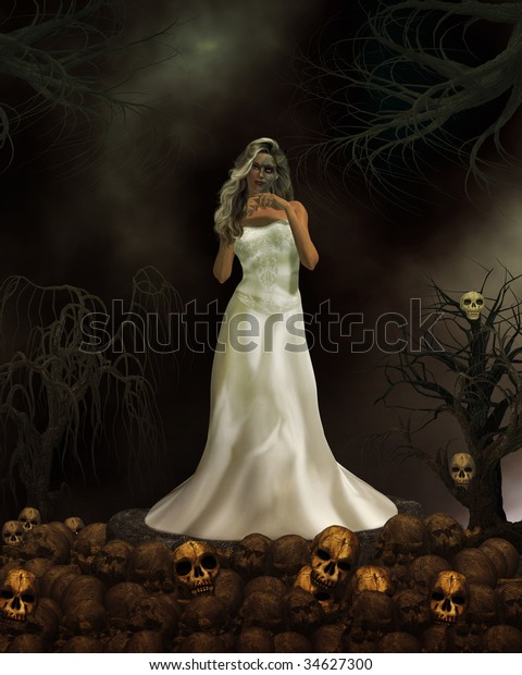 Female demon in wedding dress ready to get married again