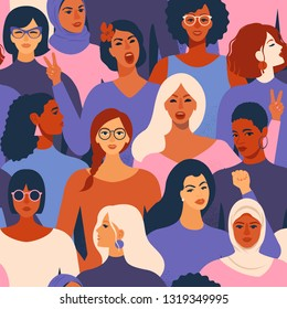 Female diverse faces of different ethnicity seamless pattern. Women empowerment movement pattern. International women´s day graphic.