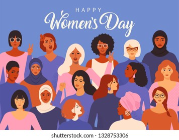 Female diverse faces of different ethnicity poster. Women empowerment movement pattern. International women s day graphic.