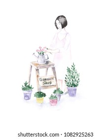 Female florist in shop. Girl with flowers. Watercolor illustration. Flower shop